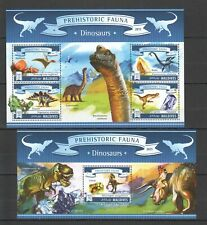 ML650 2015 MALDIVES PREHISTORIC ANIMALS REPTILES DINOSAURS 1KB+1BL MNH