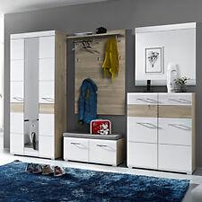 Garderobenset Funny Garderobe Schrank Paneel Spiegel weiß Struktur Silbereiche