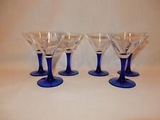 "Set 6 Cobalt Blue Stem Cordial Apertif Liqueur Martini Glass Goblet 5 1/4"" tall"
