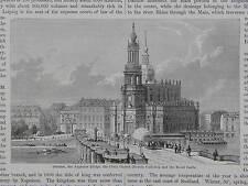 19th Century Engraving #02 Bavaria, Dresden, Augustus Bridge, & The Court Church