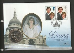 GB Coin Cover 1998 Charles & Daina Wedding Anniv, with 1981 Wedding Crown & Spec