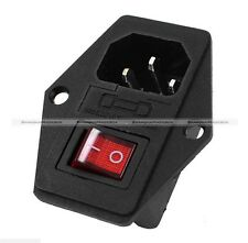1PC Red LED Rocker Switch Holder Socket IEC320 C14 Inlet AC250V 10A With Fuse