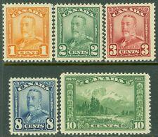 EDW1949SELL : CANADA 1928-29 Scott #149-51, 54-55 All PO Fresh & VF MNH Cat $142