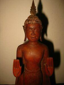ANTIQUE THAILAND THAI CARVED WOOD WOODEN ASIAN STATUE SCULPTURA OF BUDDHA XIX