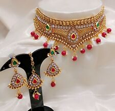 Shiny Gold Plated Pearl Stones Bead Choker Necklace Set With Earrings & Tika
