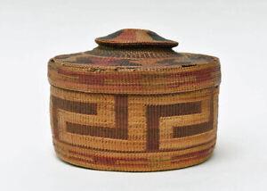 Antique Tlingit Rattle Top Indian Basket