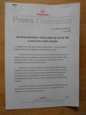 HONDA ACCORD orig 1998 UK Mkt Press Release - Brochure