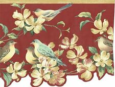 DIE CUT MAGNOLIAS BIRDS  MAUVE BACKROUND BIRDS Wallpaper bordeR Wall Decor