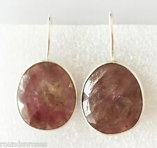 NATURAL RUBY ROSECUT OVAL GEM 925 STERLING SILVER EARRING JEWELRY DARK BROWN RED