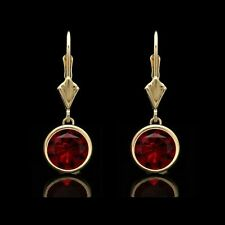2.00 Ct Red Ruby Bezel Lever-back Earrings 14k Solid Yellow Gold Over Round Cut