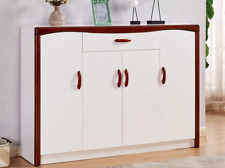 High Gloss White with Solid Wood Brown Frame Shoe Cabinet 1.4 M H97