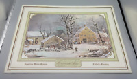 Vintage American Winter Scenes Currier & Ives A Cold Morning Laminated Placemat