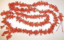 "Bead Repair 36.8g 26"" x 9/16"" Vintage Natural Coral Branch Neklace Retro"