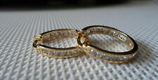 QVC Diamonique cz Sterling/Y Gold clad Inside/Outside Channel Hoop Earrings