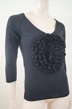 Sonia rykiel for h&m negro algodón Pima detalle de cuello en V Floral Suéter Talla: S