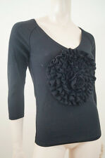SONIA RYKIEL For H&M Black Pima Cotton V Neck Floral Detail Jumper Sweater Sz:S