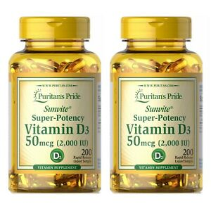 Vitamin D3 2000IU Softgels 50 mcg 2 PACK Total 400 Count for Immune Support