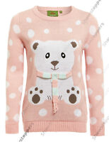 NEW Ladies Christmas Jumper Womens Xmas Top 3D Teddy Bear Peach Size 10 12 14 16