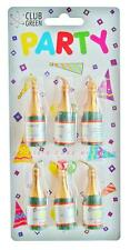 Pack of six champagne bottle candles for a celebration or birthday cake topper