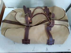 Vintage 50's-60's LL BEAN Canvas Leather Bottom Duffel Distressed