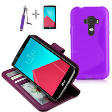 PURPLE Wallet 4in1 Accessory Bundle Kit S TPU Case Cover For LG G4 4G