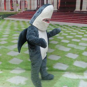 Halloween Dark Grey Shark Mascot Costume Suits Whale Cosplay Party Game Dress US