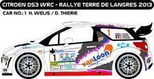 DECALS 1/43 CITROËN DS3 WRC #1- WEIJS - TERRE DE LANGRES 2013 - MF-ZONE D43215