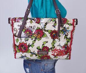SAKROOTS Large Multicolor White Fabric  Shoulder Hobo Tote Satchel Purse Bag