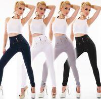 Damen High Waist Legging Hose Leggins Stretch Zierknöpfe Jeans Look hoher Bund