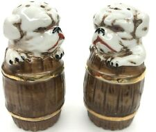 Bulldog Barrel Gold Vtg Japan Ceramic Painted Salt & Pepper Shakers Set Dog