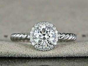 David Yurman Capri Platinum GIA 0.91 Round Diamond Halo Rope Engagement Ring 5.5