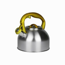Whistling Kettle Stainless Steel 2,7L Yellow Silver Hob Stove Gas Fast Boil New