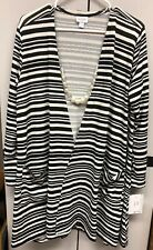 NWT LuLaRoe XL Cream & Black White Striped Caroline Cardigan Sweater