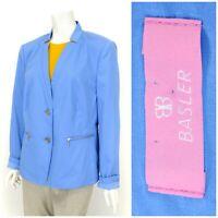 Womens Basler Blazer Jacket Blue Zip Pockets Cotton Unlined Size UK18 / EU44