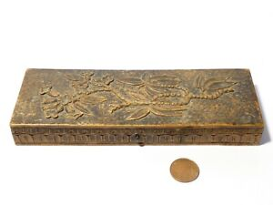 Antique Hand Carved Wood Jewellery Trinket Box with FINE Floral Tree Design
