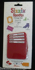 Sizzix Sizzlits VINTAGE SET Scrapbooking 4 Dies Set Trunk Shoe New in Box