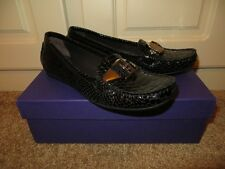 STUART WEITZMAN STRAP BLACK LEATHER SNAKE SKIN CRYSTAL FLATS LOAFERS SHOES NIB 7
