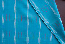 Hand-Crafted Ikat Fabric Turquoise Homespun Hand-Woven Artisan India Cotton