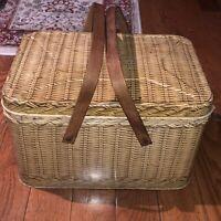 """Vintage Decoware Mid Century Tin Picnic Basket 14""""W x9.5""""L x8""""H"""
