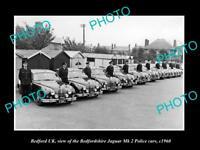 OLD LARGE HISTORIC PHOTO OF BEDFORD UK, BEDFORDSHIRE POLICE CARS, JAGUARS c1960