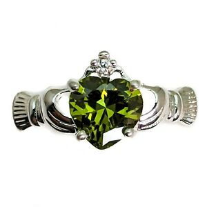 Silver Plated Claddagh Heart Ring With Green Cubic Zirconia Heart