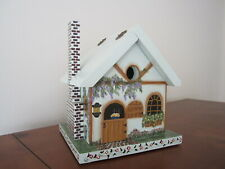 BEAUTIFUL UNIQUE HAND PAINTED WOODEN DETAILED BIRD HOUSE SIGNED HINGED ROOF LID