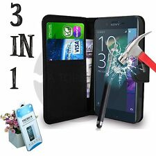 3in1 Pu Leather Wallet,Tempered Glass,Cover Pouch For Sony Xperia XZ Model