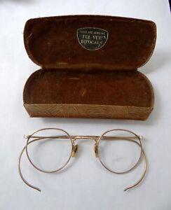 Ao American Optical Ful-Vue 1/10 12K Yellow GF Eye Glasses Wire Rims