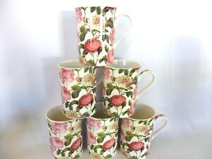 Set of 6 Reudoute Rose china 10oz mugs