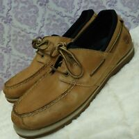 Timberland Earthkeeper Mens Boat Shoes Size 12 B Beige Leather 2 Eye Loafers