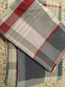 Brushed Cotton Double Duvet Set Blue Red Chequered Soft Warm Pillowcases
