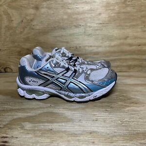 Asics Gel Nimbus 10 Running Shoes TN890 Women's 9 White Silver Blue