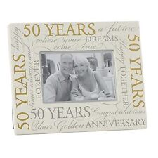 Cream 6' x 4' Photo Frame with Gold Script - 50th Wedding Anniversary
