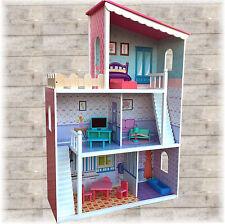 XXL Großes Puppenhaus aus Holz  DREAM VILLA Barbiehaus mit Möbeln Puppenstube